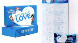 Rice Krispies Treats Snacks in the United States with special love notes added in Braille. Photo: Kellogg Company