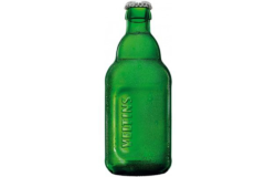 Green Veltins beer bottle without a label with embossed lettering