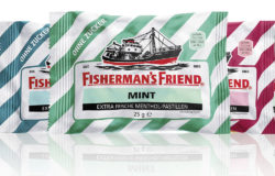 Six different types of Fisherman's Friend packaging
